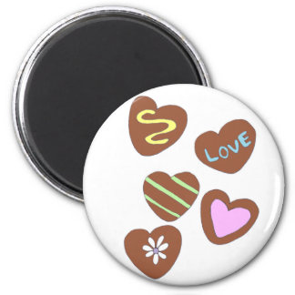 Chocolate Hearts 2 Inch Round Magnet