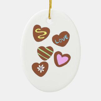 Chocolate Hearts Ceramic Ornament