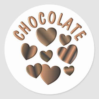 Chocolate Hearts Classic Round Sticker