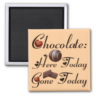 CHOCOLATE - HERE TODAY -- GONE TODAY 2 INCH SQUARE MAGNET