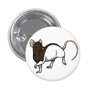 Chocolate Hooded Rat badge 1 Inch Round Button