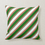 [ Thumbnail: Chocolate, Hot Pink, Dark Green, White, and Brown Throw Pillow ]