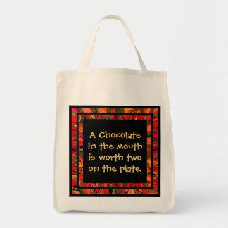 chocolate humor tote bag