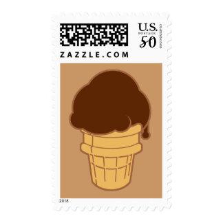 Chocolate Ice Cream Cone Postage