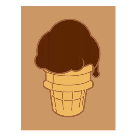 Chocolate Ice Cream Cone Postcard