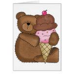 Chocolate Ice Cream Teddy Greeting Cards