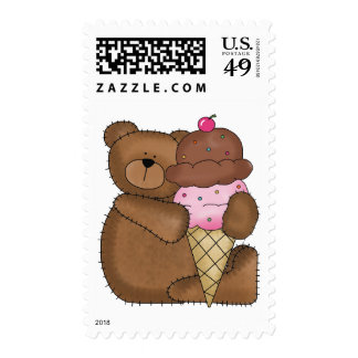 Chocolate Ice Cream Teddy Postage Stamp