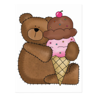 Chocolate Ice Cream Teddy Post Cards
