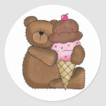 Chocolate Ice Cream Teddy Stickers