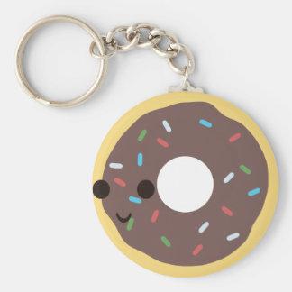 Chocolate iced donut keychains