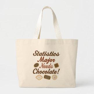 Chocolate importante de las estadísticas bolsa tela grande