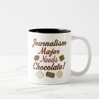 Chocolate importante del periodismo taza dos tonos