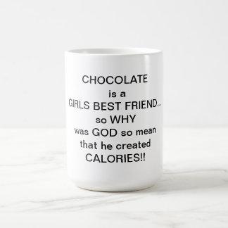 chocolate is a girls best friend classic white coffee mug