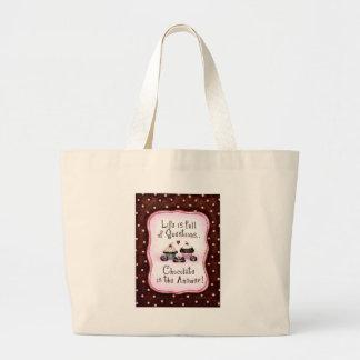 Chocolate is the answer jumbo tote bag