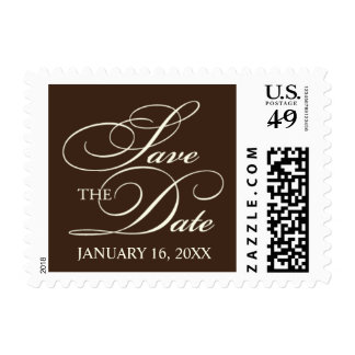 Chocolate & Ivory Save The Date Small Postage