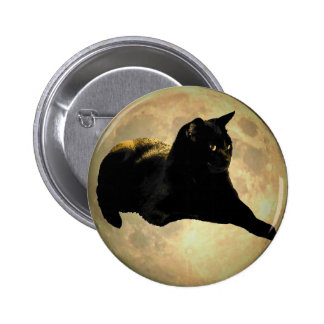 Chocolate Kitty in the Moon Pinback Button