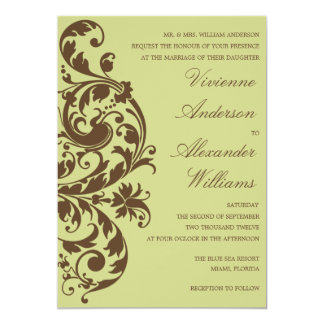 CHOCOLATE & KIWI FLOURISH | WEDDING INVITATION