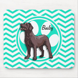 Chocolate Lab; Aqua Green Chevron Mouse Pad