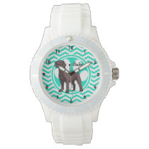 Chocolate Lab; Aqua Green Chevron Wristwatch