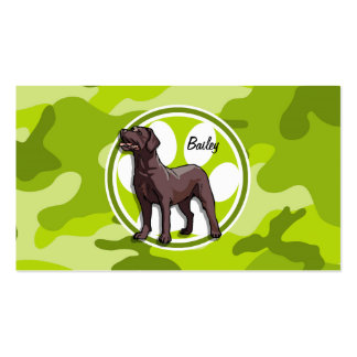 Chocolate Lab; bright green camo, camouflage Business Card