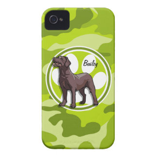 Chocolate Lab; bright green camo, camouflage iPhone 4 Case-Mate Case