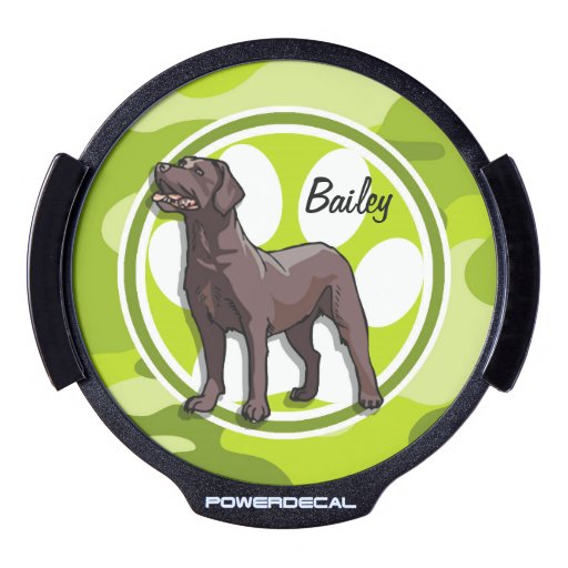 Chocolate Lab; bright green camo, camouflage LED Window Decal