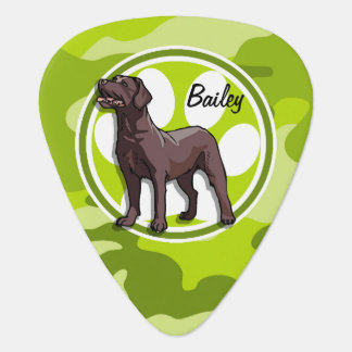 Chocolate Lab bright green camo camouflage Guitar Pick