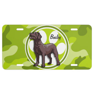 Chocolate Lab bright green camo camouflage License Plate