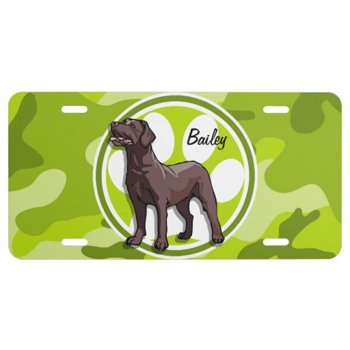 Chocolate Lab; bright green camo, camouflage License Plate
