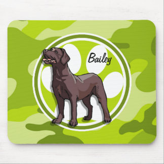 Chocolate Lab; bright green camo, camouflage Mouse Pad