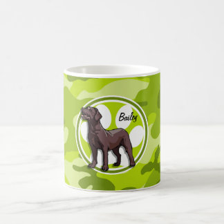 Chocolate Lab; bright green camo, camouflage Mug
