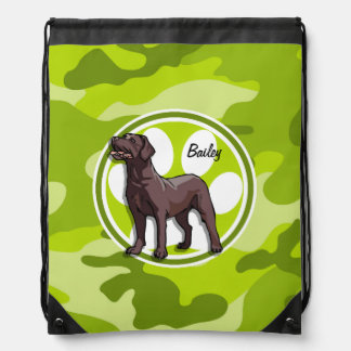 Chocolate Lab; bright green camo, camouflage Drawstring Bags