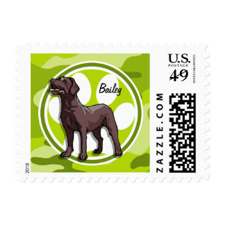 Chocolate Lab; bright green camo, camouflage Postage