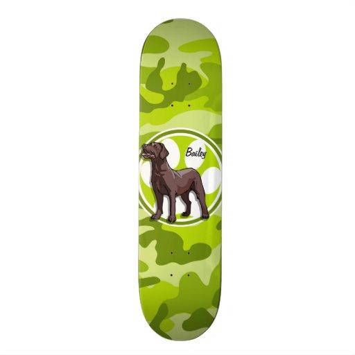 Chocolate Lab; bright green camo, camouflage Skate Board