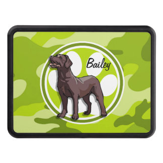Chocolate Lab; bright green camo, camouflage Tow Hitch Cover