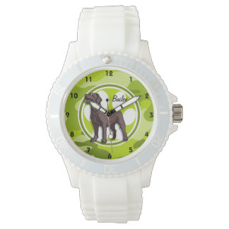 Chocolate Lab; bright green camo, camouflage Wristwatch