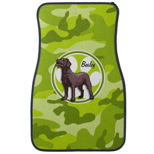Chocolate Lab; bright green camo, camouflage Car Mat