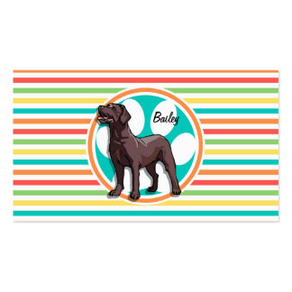Chocolate Lab; Bright Rainbow Stripes Business Card Template