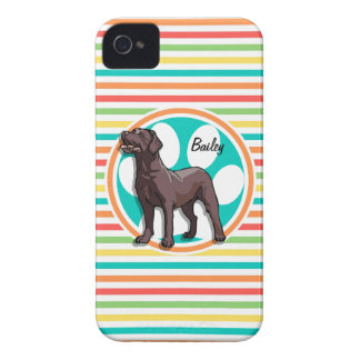 Chocolate Lab; Bright Rainbow Stripes iPhone 4 Case-Mate Case