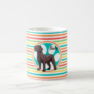 Chocolate Lab; Bright Rainbow Stripes Coffee Mug