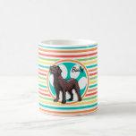 Chocolate Lab; Bright Rainbow Stripes Coffee Mugs