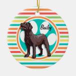 Chocolate Lab; Bright Rainbow Stripes Double-Sided Ceramic Round Christmas Ornament