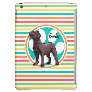 Chocolate Lab; Bright Rainbow Stripes iPad Air Case