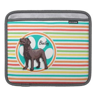 Chocolate Lab; Bright Rainbow Stripes iPad Sleeve