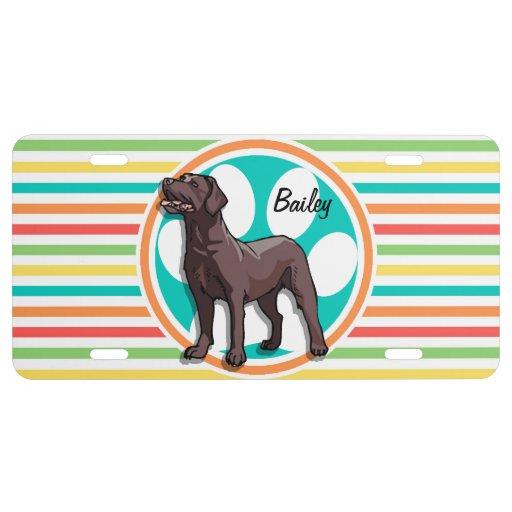 Chocolate Lab; Bright Rainbow Stripes License Plate