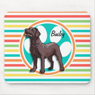 Chocolate Lab; Bright Rainbow Stripes Mouse Pad