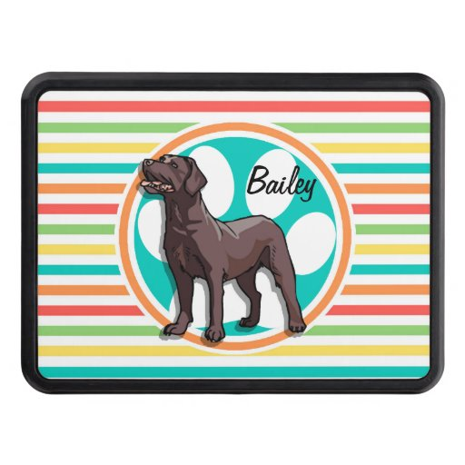 Chocolate Lab; Bright Rainbow Stripes Trailer Hitch Cover