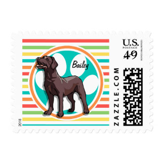 Chocolate Lab; Bright Rainbow Stripes Postage Stamps