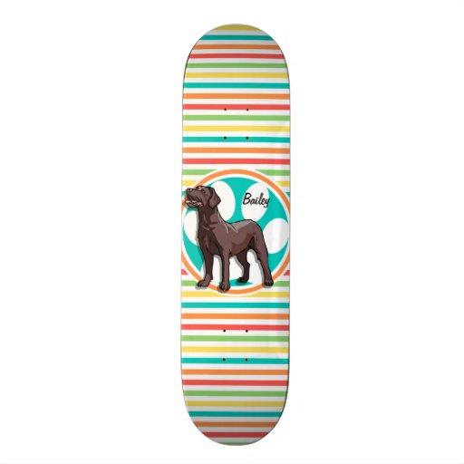 Chocolate Lab; Bright Rainbow Stripes Custom Skate Board