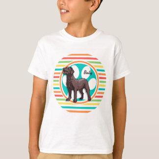 Chocolate Lab; Bright Rainbow Stripes T-Shirt